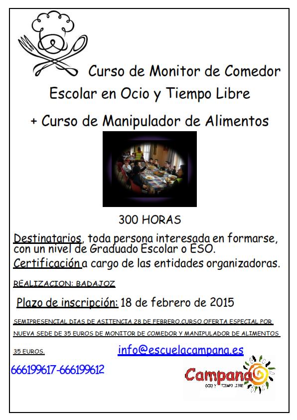 Curso de monitor de comedor escolar en ocio y tiempo libre for Monitor comedor escolar