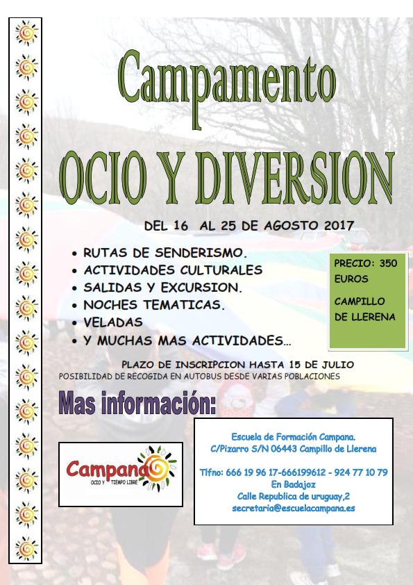 CARTEL CAMPAMENTOS DE ESTE VERANO OCIO Y DIVERSION 2017